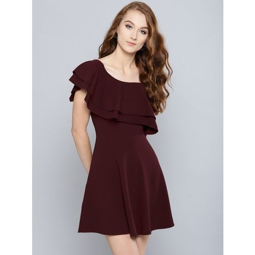 Veni Vidi Vici Women Skater Maroon Dress