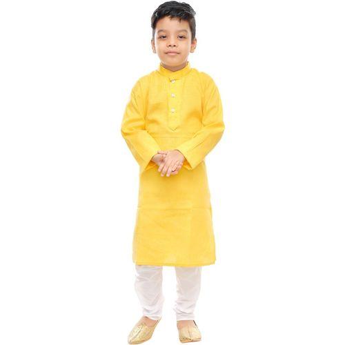 FTC FASHIONS Boys Festive & Party Kurta and Pyjama Set(Yellow Pack of 1)
