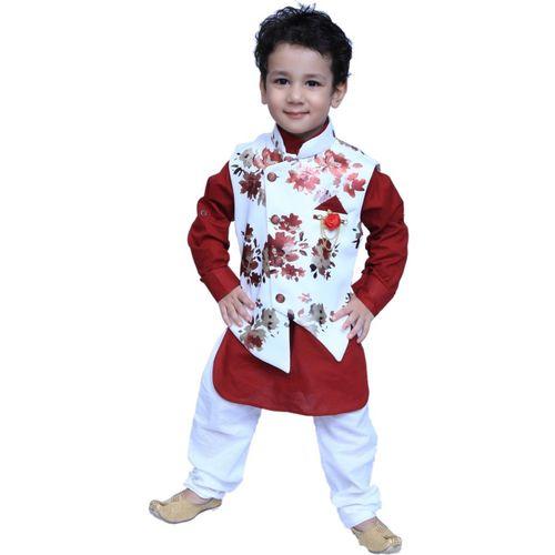 KL Collection Boys Festive & Party Kurta, Waistcoat and Pyjama Set(Maroon Pack of 1)