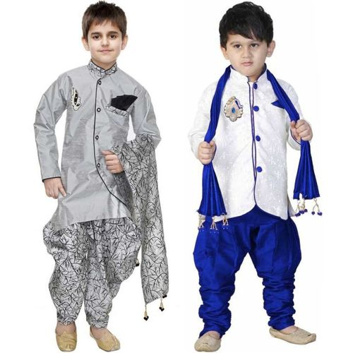 stylokids Boys Festive & Party Kurta, Pyjama & Dupatta Set(Multicolor Pack of 2)