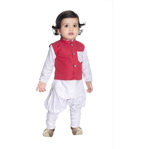 new gen Boys Festive & Party Ethnic Jacket, Kurta and Legging Set(Red Pack of 2)