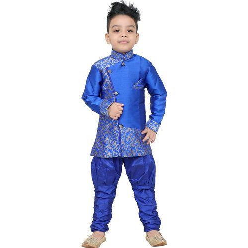 stylokids Boys Festive & Party Kurta and Pyjama Set(Blue Pack of 1)