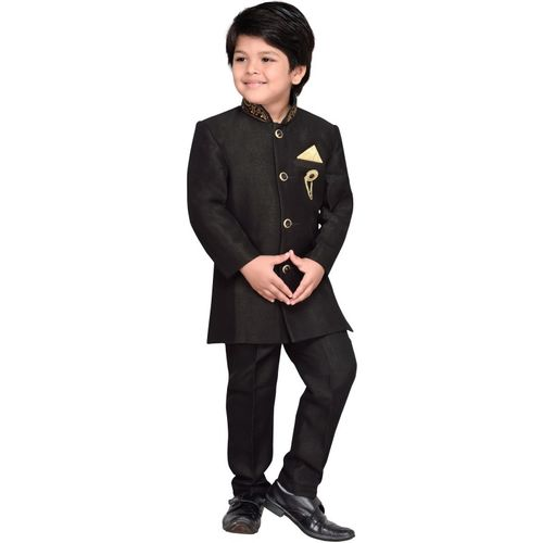 AJ Dezines Boys Festive & Party Sherwani and Churidar Set(Black Pack of 1)