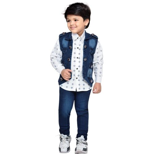 AJ Dezines Boys Festive & Party Shirt, Waistcoat and Pant Set(Blue Pack of 1)