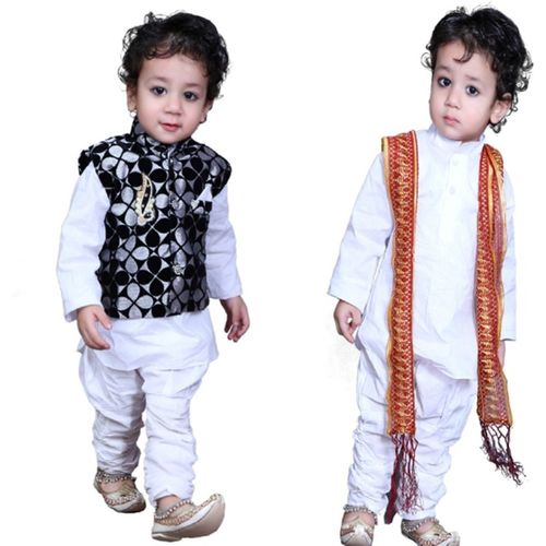 Lakshu Fashions Boys Festive & Party Kurta, Waistcoat and Breeches Set(White Pack of 1)