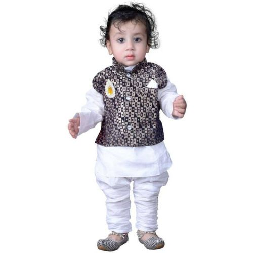 KL Collection Boys Festive & Party Kurta, Waistcoat and Pyjama Set(White Pack of 1)