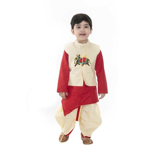 NEW GEN Boys Festive & Party Kurta, Waistcoat and Dhoti Pant Set(Red Pack of 1)