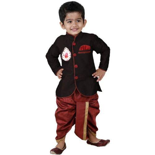 stylokids Boys Festive & Party Dhoti & Kurta Set(Black Pack of 1)