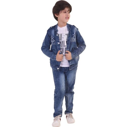 Smart Kids Boys Casual, Festive & Party Shirt, Waistcoat and Pant Set(Blue Pack of 1)