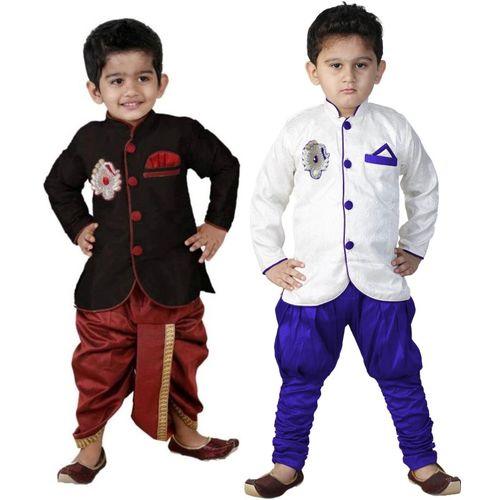 FTC FASHIONS Boys Festive & Party Kurta and Dhoti Pant Set(White Pack of 2)
