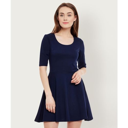Miss Chase Women Skater Dark Blue Dress