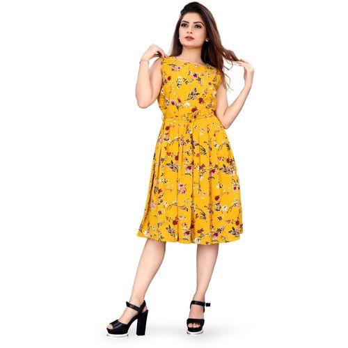 B4U Women Skater Yellow Dress