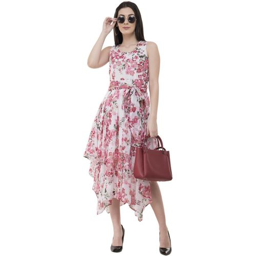 Absorbing Women Asymmetric Pink, White, Green Dress