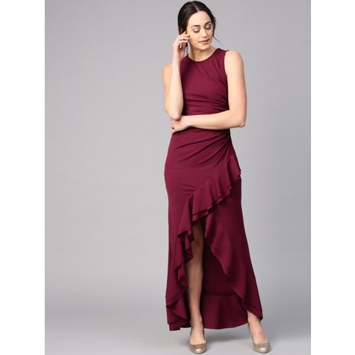 Athena Women Asymmetric Maroon Dress