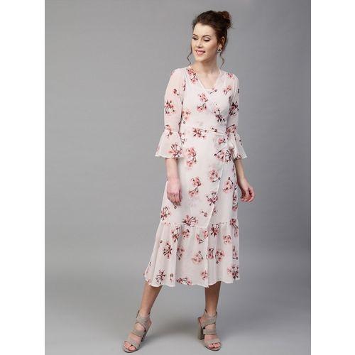 Sassafras Women Wrap White, Pink Dress
