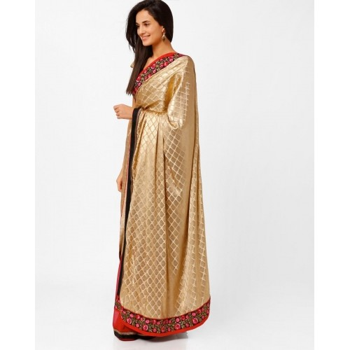 Akoya Red & Gold Toned Embroidered Half and Half Saree