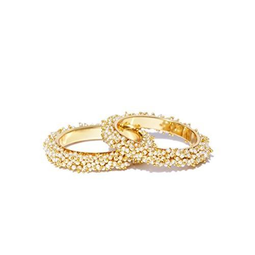 YouBella Golden Alloy Pearls Bangles