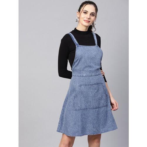 Sassafras Women Pinafore Black, Blue Dress