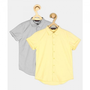 Provogue Boys Solid Casual Yellow, Grey Shirt(Pack of 2)