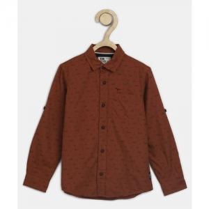 Flying Machine Kids Boys Printed Casual Brown Shirt