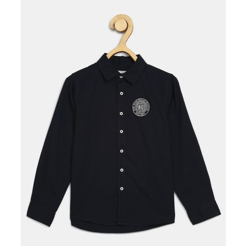 Pepe Jeans Boys Solid Casual Dark Blue Shirt