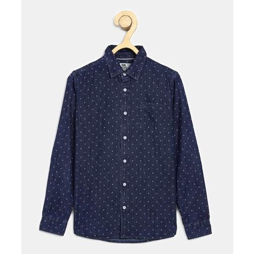 Flying Machine Boys Printed Casual Dark Blue Shirt