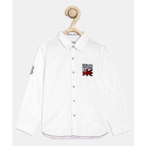 Pepe Jeans Boys Solid Casual White Shirt