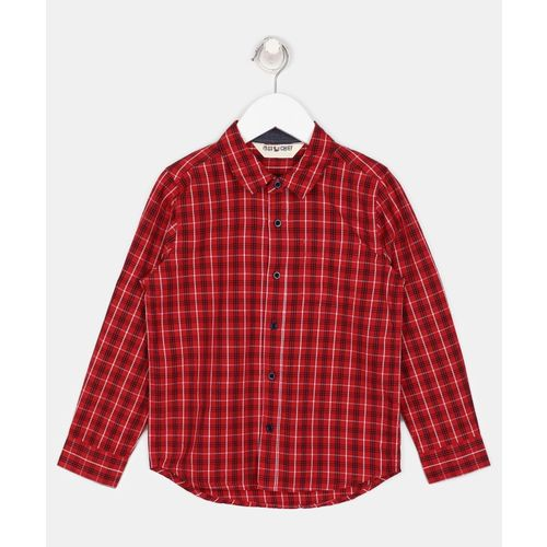Miss & Chief Boys Checkered Casual Red Shirt
