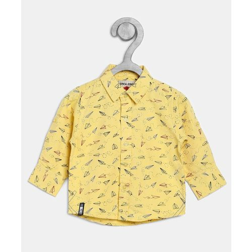 Gini & Jony Boys Graphic Print Casual Yellow Shirt