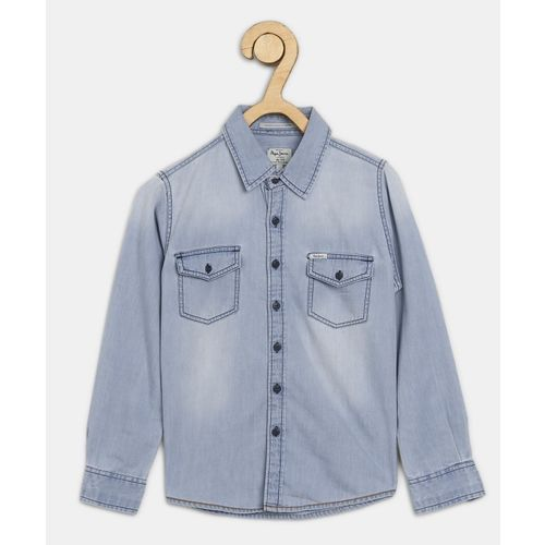 Pepe Jeans Boys Solid Casual Blue Shirt