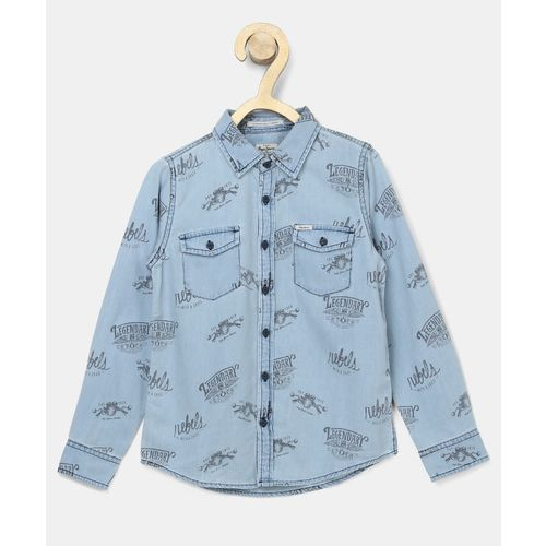 Pepe Jeans Boys Graphic Print Casual Blue Shirt