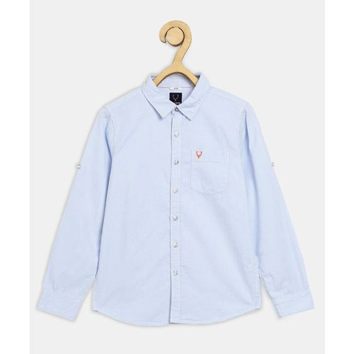 Allen Solly Junior Boys Self Design Casual Blue Shirt