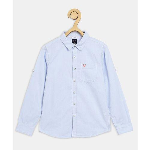 Allen Solly Junior Boys Self Design Casual Blue Shirt