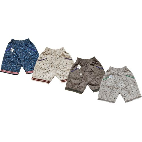 Manzon Short For Boys & Girls Casual Printed Cotton Blend(Multicolor, Pack of 4)