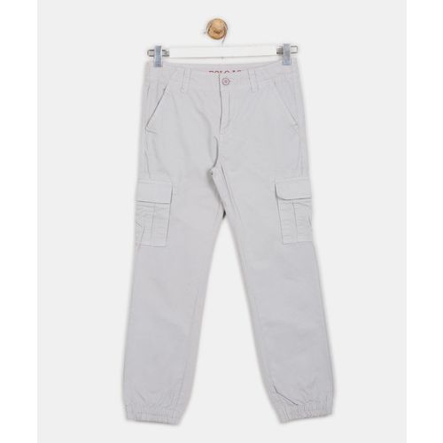 U.S. Polo Assn. Kids Slim Fit Boys Grey Trousers
