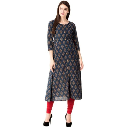 GLAM ROOTS Women Printed A-line Kurta(Blue)