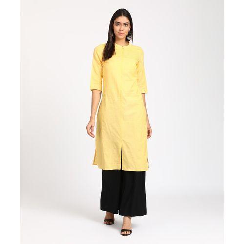 Aurelia Women Solid A-line Kurta(Yellow)
