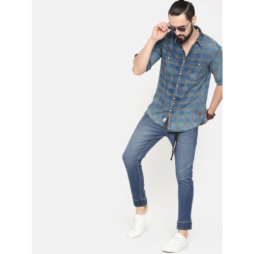 Roadster Men Blue Slim Jogger Fit Mid-Rise Clean Look Stretchable Jeans