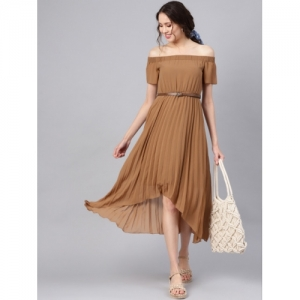 SASSAFRAS  Brown Poly georgette Accordian Pleats Off-Shoulder A-Line Dress