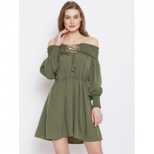 PANIT Olive Green Polyester Solid Fit and Flare Dress