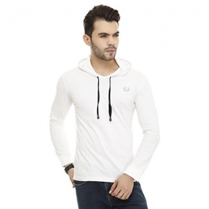 Leemarts White Cotton Soild Hooded Full Sleeves T-Shirt