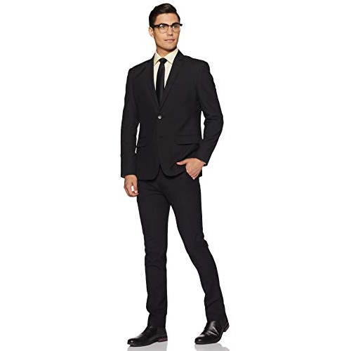 Park Avenue black poly Notch Lapel Slim fit Blazer