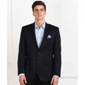 Park Avenue Dark Blue polyester Solid Single Breasted Formal Blazer