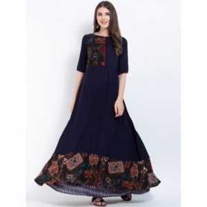 Ives  Navy Blue & Red Printed Anarkali Kurta