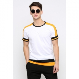 Maniac White Colour Block  Cotton Solid T-Shirt