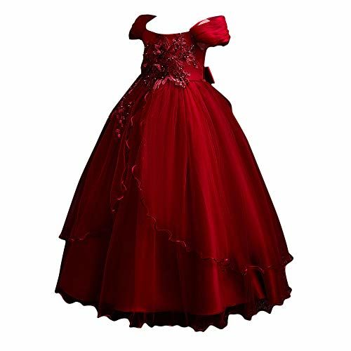 Si rosa by Hopscotch Girls Poly Viscose Lovely Floral Applique Sleeveless Full Length Gown in Red Color for Ages 4-5 Years