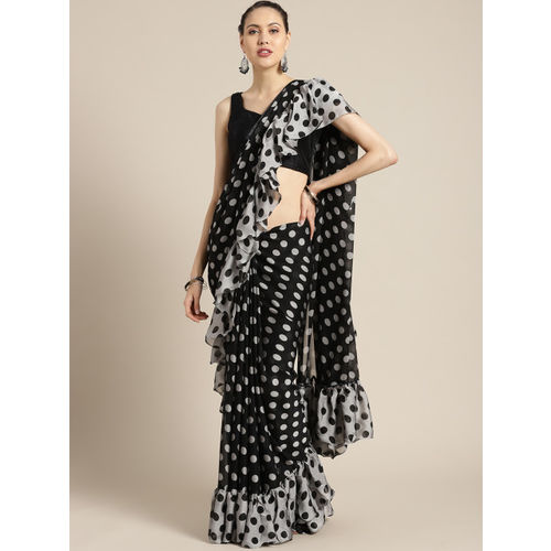 Tikhi Imli Black & Grey Printed Ruffle Saree
