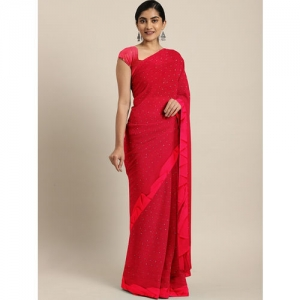 Triveni Red Embellished Poly Chiffon Saree With Ruffled Border