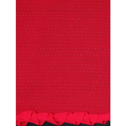 Triveni Red Embellished Poly Chiffon Saree With Ruffled Border