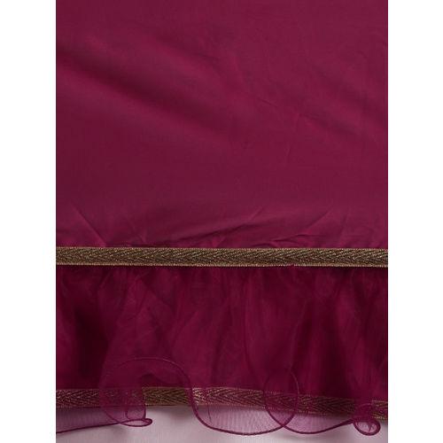 Tikhi Imli Pink Solid Poly Crepe Ruffled Saree
